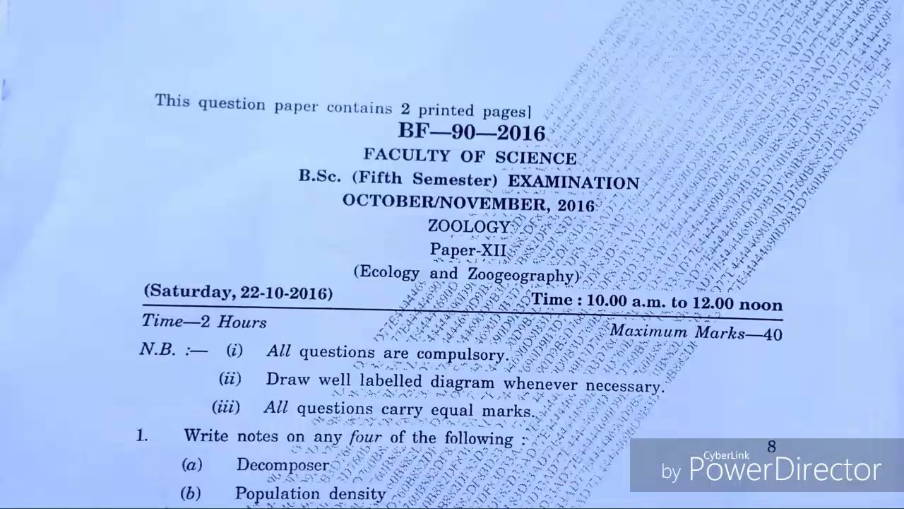 ZOOLOGY Paper XII B Sc TY (5th sem) October/ November, 2016(2)