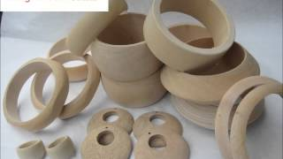 A Gallery Of Unfinished Wood Bangles, Rings And Earrings For Sale.