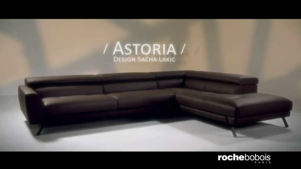 Canap d 39 angle composable astoria en cuir youtube - Canape cuir roche bobois ...