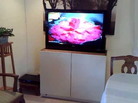 tv lift pop up tv cabinet partsofsweden se youtube. Black Bedroom Furniture Sets. Home Design Ideas