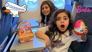 Sally Opening Barbie Surprise Egg Toy Ride on the airplane!!
