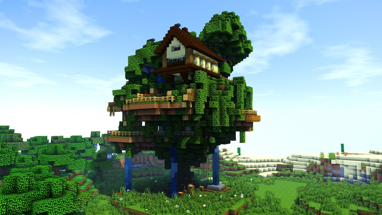 Minecraft  How To Build A Tree Village    Big Treehouse Tutorial   How To Make   2018
