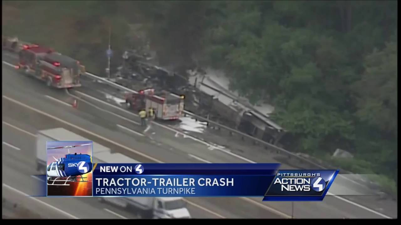 Tractor-trailer crashes, burns on Pennsylvania Turnpike