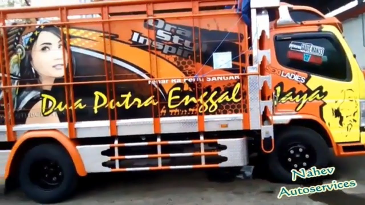 MODIFIKASI KEREN TRUCK MITSUBISHI CANTER KOMBINASI WARNA YELLOW