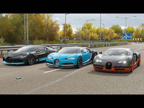 Forza Horizon 4 Drag race: Bugatti Divo vs Chiron vs Veyron SS