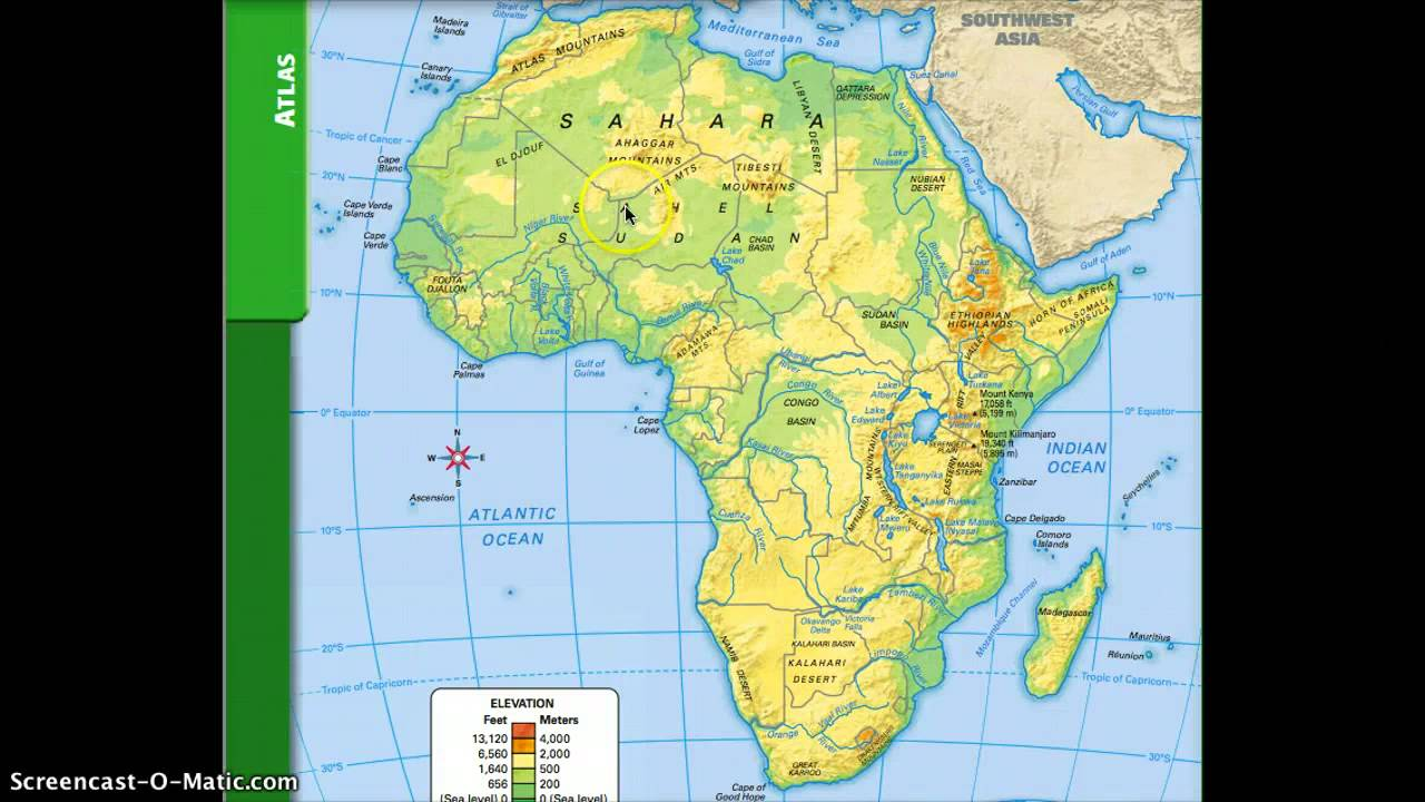 Africa Map Geography.Physical And Political Geography Of Africa Youtube