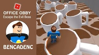 ROBLOX ADVENTURES | ESCAPE FROM THE OFFICE OBBY | DIE OR JUMP OVER COFFEE MUGS