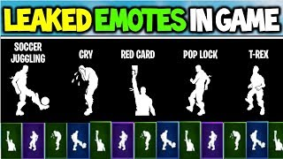 *NEW* Fortnite: SEASON 4 LEAKED EMOTES! *Cry, Red Card, Pop Lock, T-REX & MORE!* (In-Game Showcase)