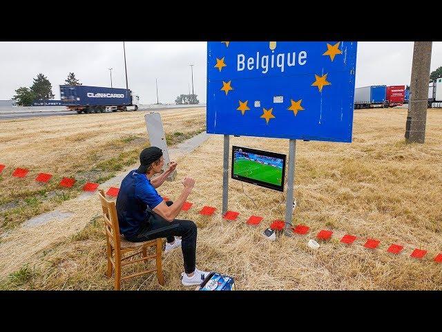 外国球迷跑到法国比利时边境上看世界杯半决赛