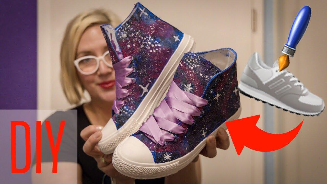 Galaxie Schuhe färben wie ich weiße Schuhe anmale [DIY]