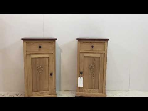 Pair Of Antique Pine Bedside Cupboards With Marble Tops