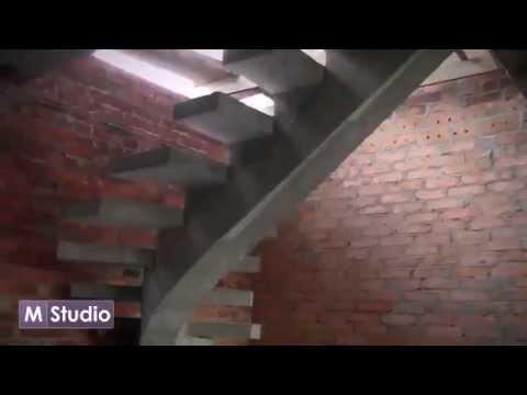 Лестница монолитная на одном косоуре