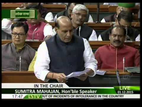 Shri Rajnath Singh speech in Lok Sabha on debate on Intolerance: 01.12.2015