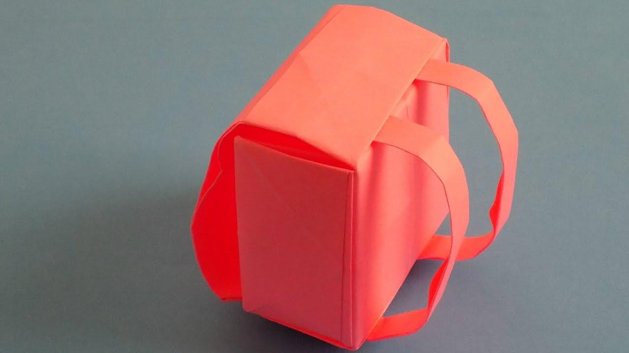 Рюкзак в технике оригами из бумаги своими руками поэтапно с фото.