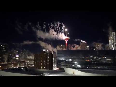 Calgary Downtown Fireworks Display - January 1, 2018 - Calgary Tower - New Years Eve