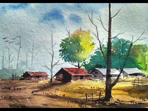 "Watercolor Painting- ""Village Landscape"" | Paint with david |"