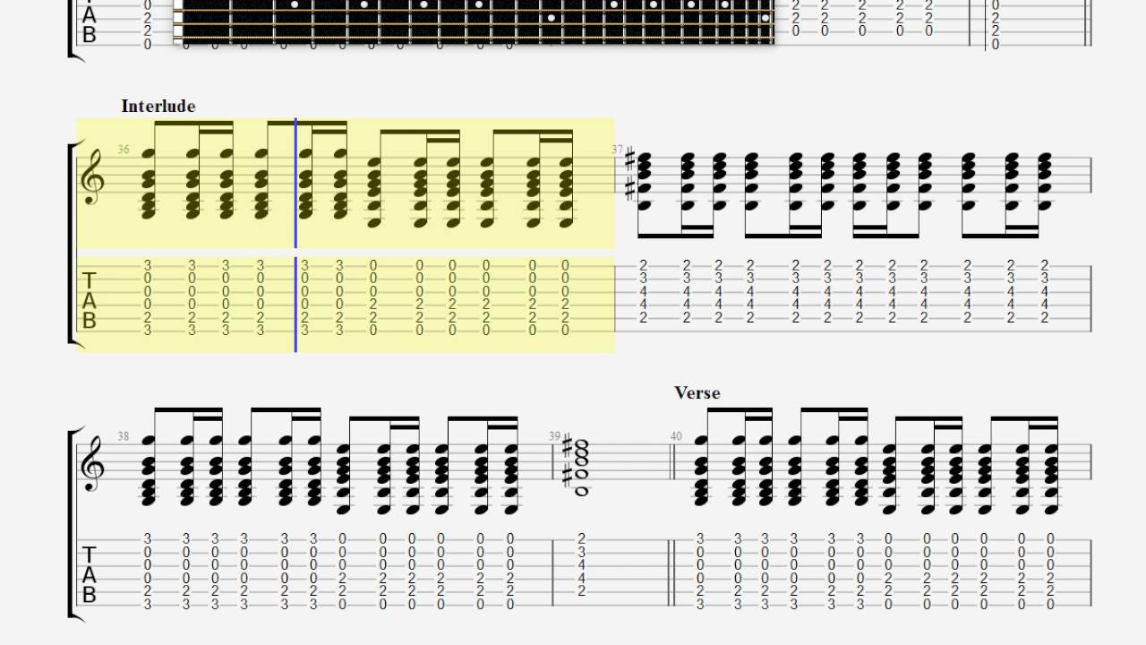 Coldplay Trouble Guitar Tab Youtube