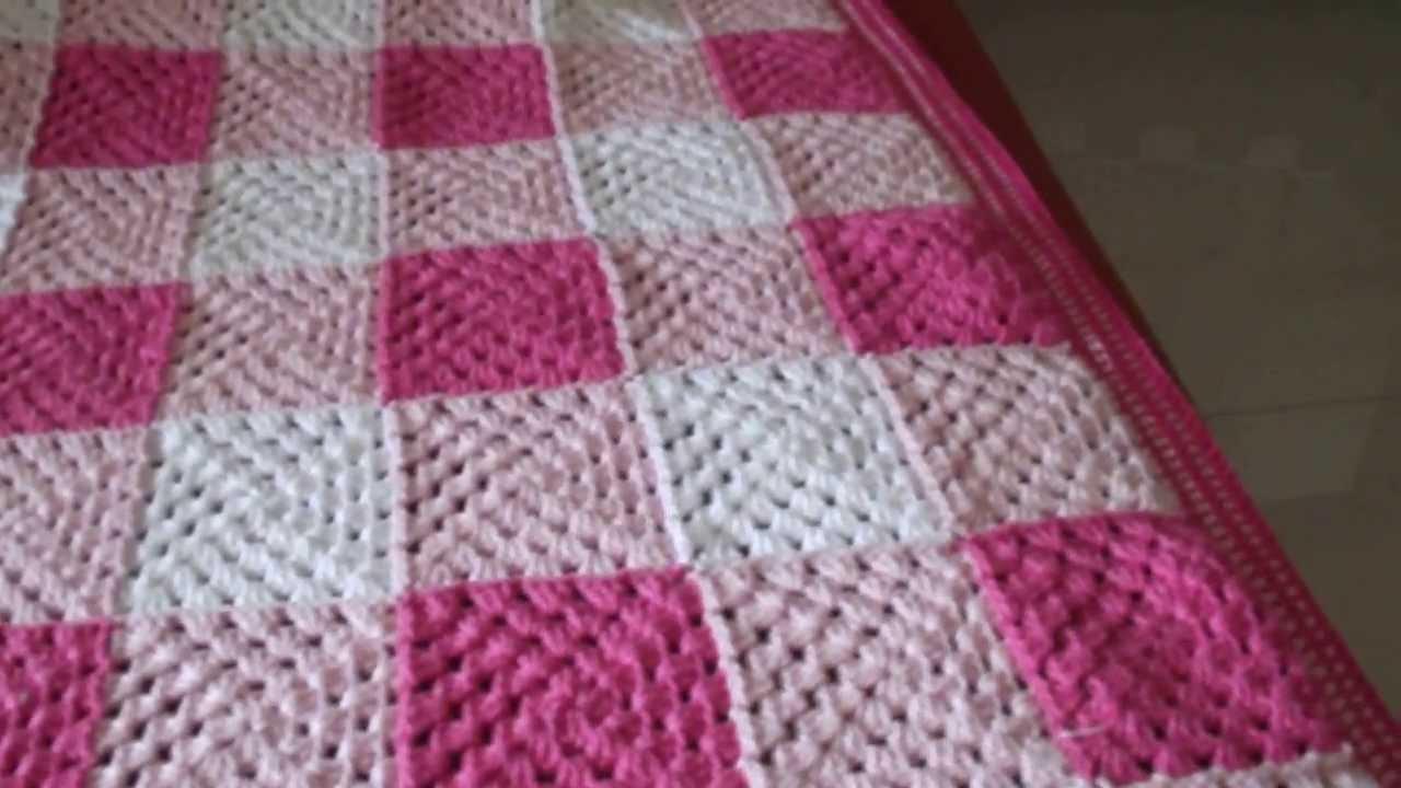 Manta de croche para beb xadrez vlog youtube for Cobertor para sofa