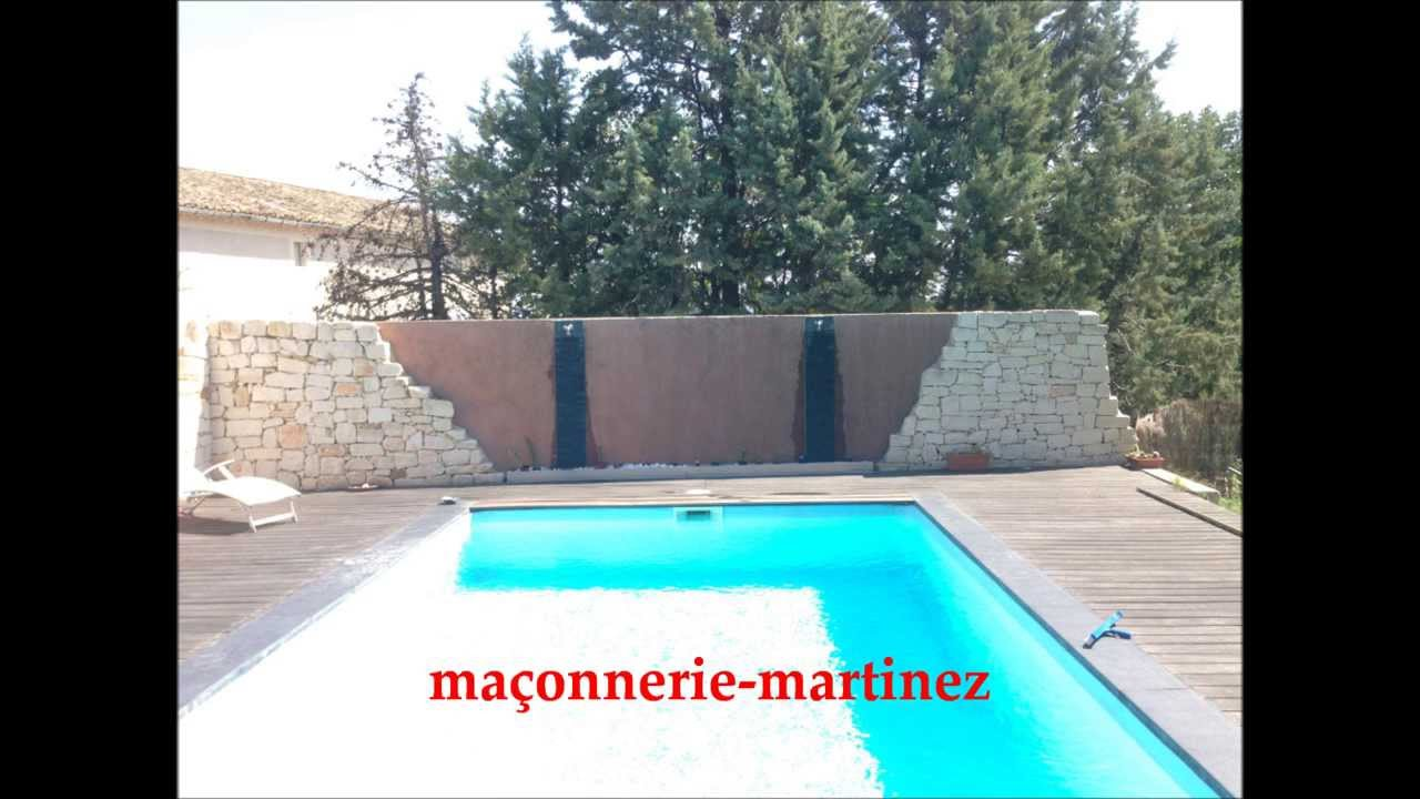 fontaine mur piscine d cor ma onnerie martinez youtube. Black Bedroom Furniture Sets. Home Design Ideas