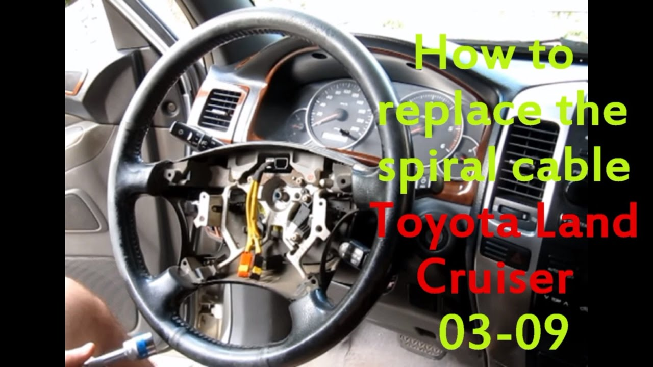 toyota 02 09 land crusier prado 120 spiral cable replacement youtube