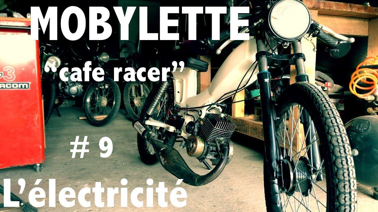 mobylette cafe racer 9 l 39 electricite youtube. Black Bedroom Furniture Sets. Home Design Ideas