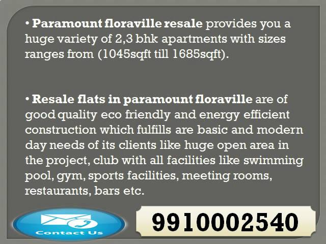 Paramount Floraville 9910002540 Resale Price Noida Sector 137