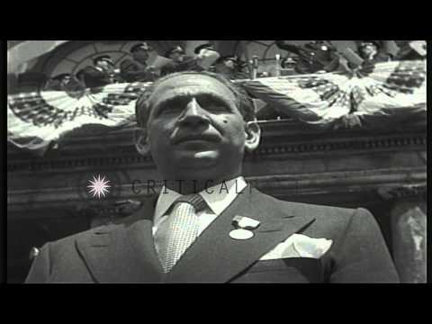 Celebrating founding of State of Israel, Prime Minister David Ben-Gurion addresse...HD Stock Footage