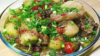Жаркое по Восточному Думляма из говядины.Тушеная говядина на ребрах с обжаренными овощами.