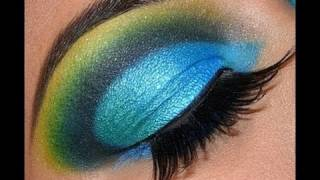 INGLOT Blue Green Yellow Cut Crease Eyeshadow Tutorial!!