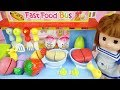 Baby doll Kitchen food bus toys and baby Doli play
