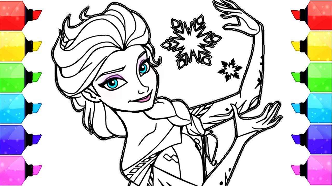 Elsa Frozen Disney Coloring Book Pages | How to Draw and Color Elsa Frozen  Disney Paint Markers