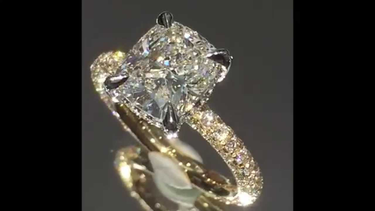 276 Carat Cushion Cut Diamond Engagement Ring In Two Tone