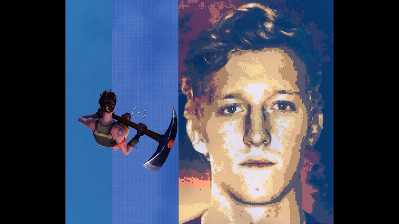 Tfue Pixel Art in Fortnite Creative Mode