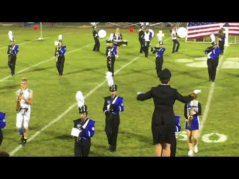 "Woodbury Central High School marching band plays ""God Bless America."""