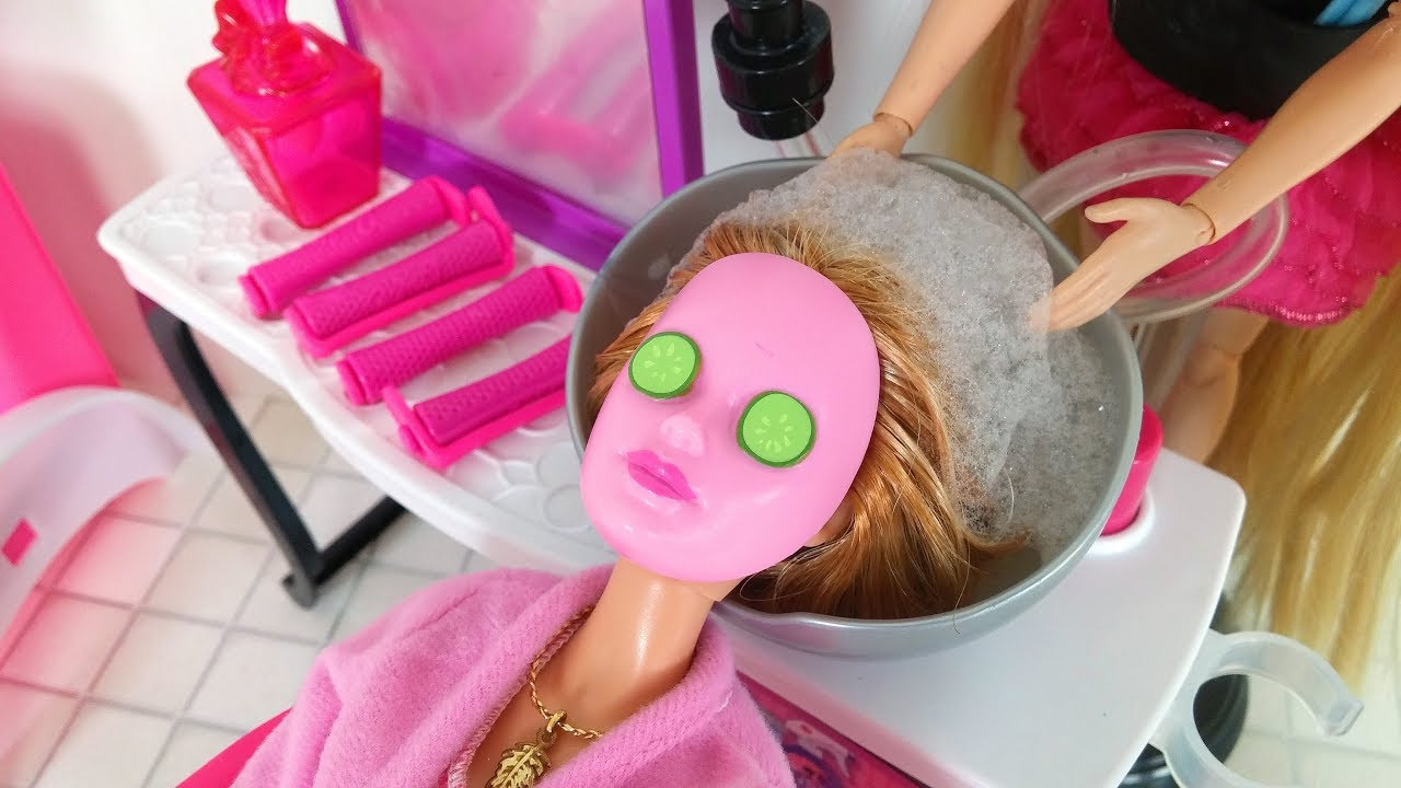 Salon Barbie Doll Hair Salon Cinderella Barbie Hair Cut Hair Washباربي صالون الشعرbarbie Salão De Beleza
