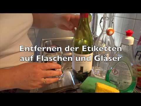 Etiketten Lösen Aufkleber Entfernen Auf Flaschen Und Gläser