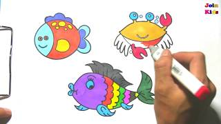 Drawing and Coloring Marine Animals - Coloring Fish and Crabs