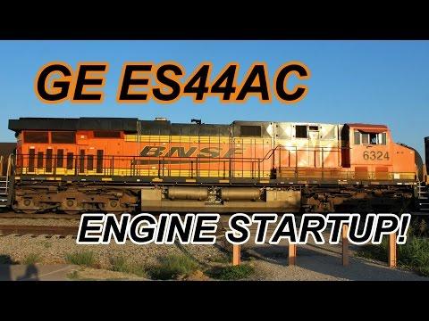 GE ES44AC BNSF 6324 - GEVO-12 prime mover startup!