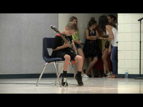 9 Year Old Plays Metallica's Anesthesia (Pulling Teeth) at Talent Show