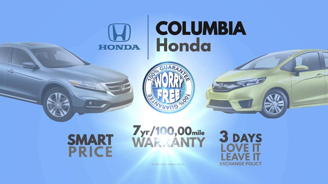Columbia Honda Worry Free Guarantee