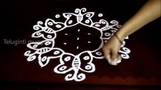 Simple butterfly kolam designs with 7-4 middle | chukkala muggulu with dots| rangoli design