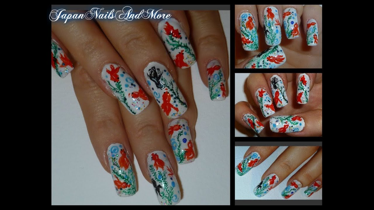 Japanese Koi Fish Nail Art - YouTube