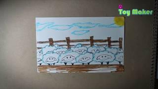 Divertido dibujo para contar ovejas en su corral.