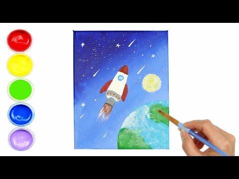 DIY Wall Art Rocket Easy Acrylic Painting  | Creative World