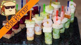 3 Вида Оригинальных #Канапе на Праздничный стол 🎄 Мини Бутерброды на Шпажках в Стиле Суши