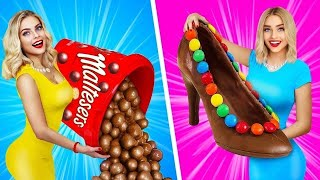 REAL FOOD VS CHOCOLATE FOOD CHALLENGE || Eating Giant Chocolate Candy! Tasty Mukbang by RATATA BOOM