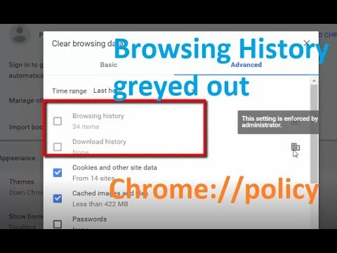 Delete Browsing History greyed out in chrome - AllowDeletingBrowserHistory chrome://policy