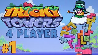 Tricky Towers - #1 - Tetris Race! (4 Player Gameplay)
