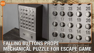 Falling buttons (lift panel) prop. Mechanical puzzle for escape game.