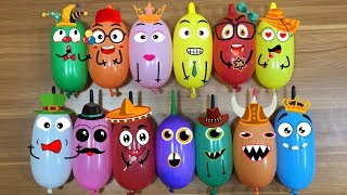 Learn Colors with Funny Balloons Cute Doodles | Making Slime With Funny Balloon